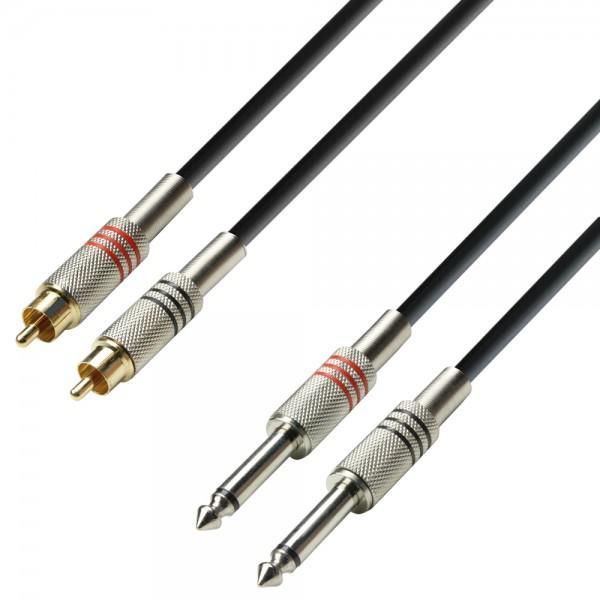 Cablu 2xRCA - 2xJACK(6.3mm) - 3m