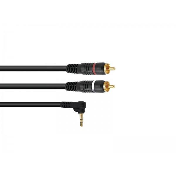 Cablu Omnitronic 3.5 Jack 90┬░/2xRCA 0,5m negru