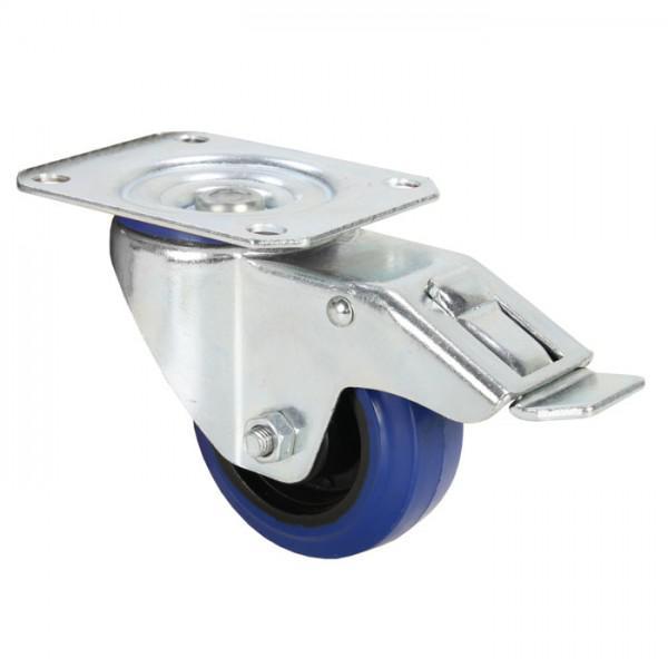 Rola Pivotanta Adam Hall 80 mm - roata albastra cu frana