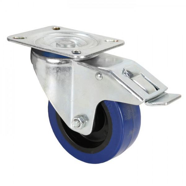 Rola Pivotanta Adam Hall 100 mm - roata albastra cu frana