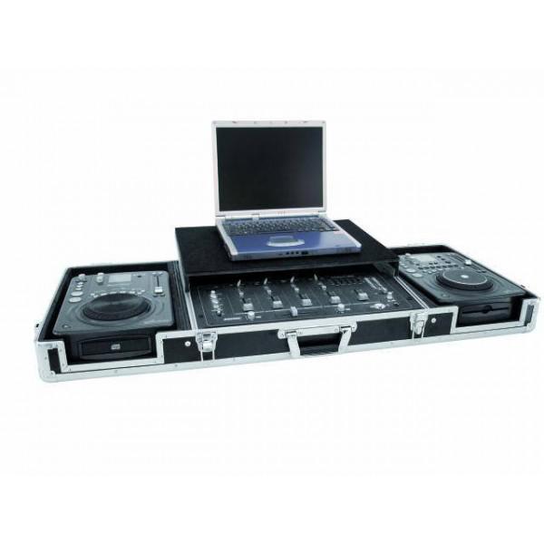 Case De Transport Pentru 2 Cd-playere + Mixer Cu Suport Pentru Laptop,culoare neagra