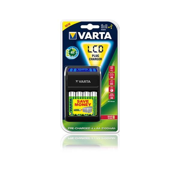 Incarcator Varta LCD USB Plug + 4buc + Acumulatoare 2100mAh