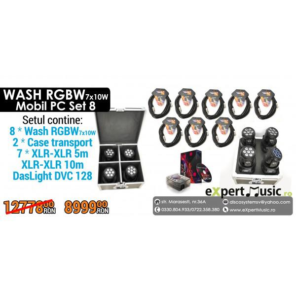 Set 8 WASH RGBW 7x10W Mobil PC