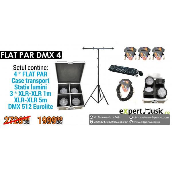 SET 4 FLAT PAR DMX